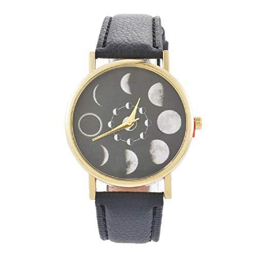 Souarts Unique Womens Lunar Eclipse Black Artificial Leather Analog Quartz Wrist Watch 24cm (Black)