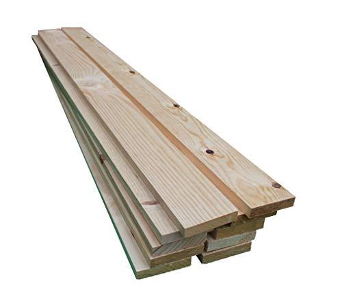 Listones de madera de pino (Pack de 10 ud), largo 2 metros, grosor de 2.2 cm y 9 de ancho. Tabla de madera de pino cepillado