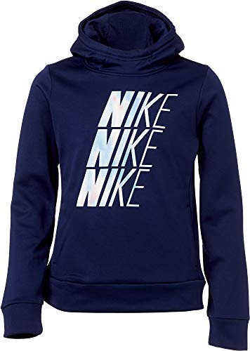 Nike Girl's Therma Unicorn Hooded Pullover (Blue Void, Large)
