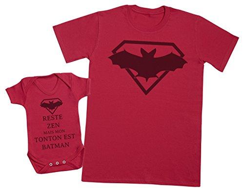 Reste Zen mais Mon Tonton est Batman - Ensemble Tonton Bébé Cadeau - Hommes T-Shirt & Body bébé - Rouge - S & 18-24 Mois