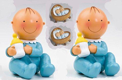 Pack 12Magnete blaue Manschettenknöpfe in eine Wiege (1,70Euro) und 2Figur/Spardose Torte Set