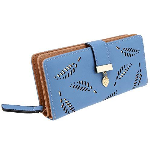 OTOTEC Leaf Cutout Ontwerp Dame Vrouwen Lang Blad Bifold Portemonnee Zwart/Blauw/Khaki Handtas