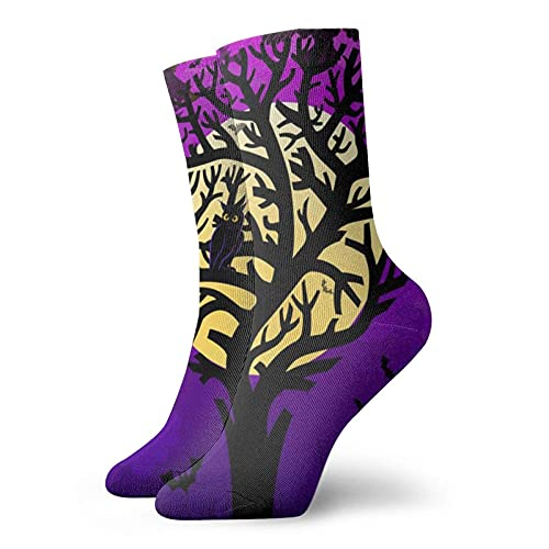 Lsjuee Halloween con árbol estilizado divertido novedad Unisex arte estampado fibra de poliéster transpirable cómodo calcetines duraderos