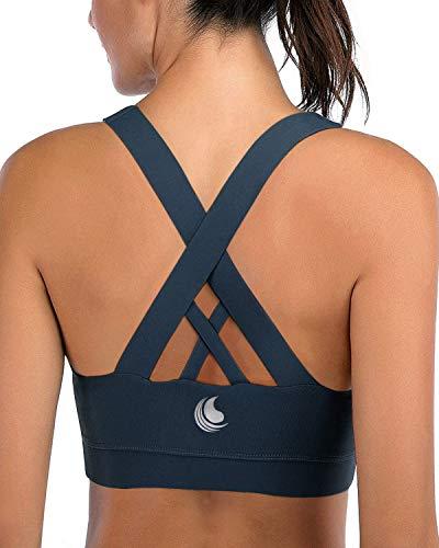 Strappy Sport-BH für Damen, gepolstert, sexy Criss Cross Back Yoga Workout Top BH - Blau - 90C 90D 95A 95B XXL
