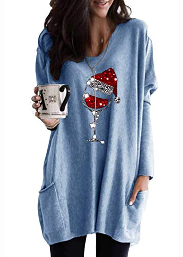 Byvheh Womens Christmas Wine Glass Tunic Tops Long Sleeve Crewneck Casual Shirts Oversized Sequin Pocket Sweatshirt Dress