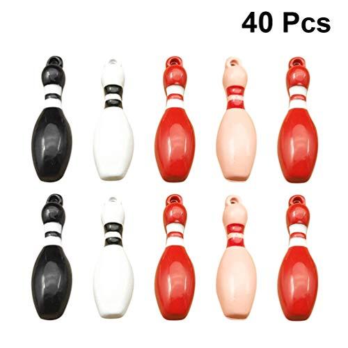 HEALLILY Bowling Charms Anhänger Mini Ball Charms Sportball Anhänger Souvenir Geschenk für DIY Handwerk Handgefertigte Halskette Schlüsselbund Armband Schmuck Machen 40Pcs (Gemischte Farbe)