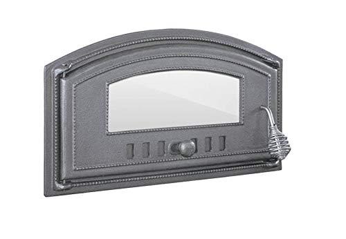 BBQrolling Pizzaofentür Premium 490x280 Backofentür aus Gusseisen mit Glas Offentür Brotofentür/Links/