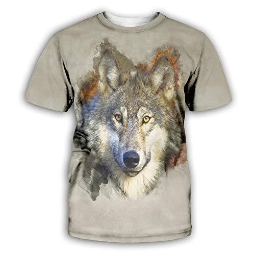 Camiseta con Estampado 3D para Hombre Camiseta con Estampado de Lobos Indios Camiseta de Manga Corta Informal