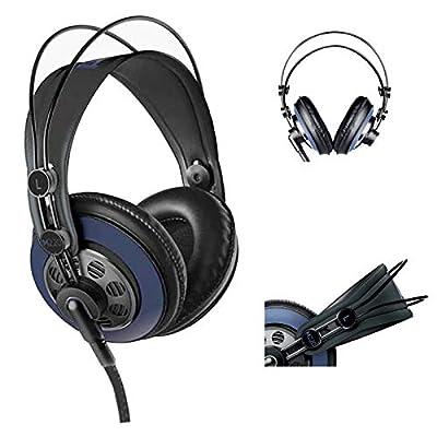 AKG M220 Pro Stylist Professional Large Diaphragm DJ Semi-Open High Definition Over-Ear Studio Headphones - Blue