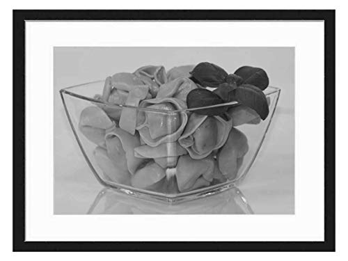 Wood Framed Canvas Artwork Home Decore Wall Art (Black White 20x14 inch) - Noodles Tortellini Pasta Carbohydrates Lunch Ital