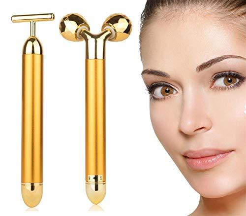 AMULISS 24k Gold Skin Care Face Massager 3D Roller Electric Depuffer Energy Beauty Bar Package Combination
