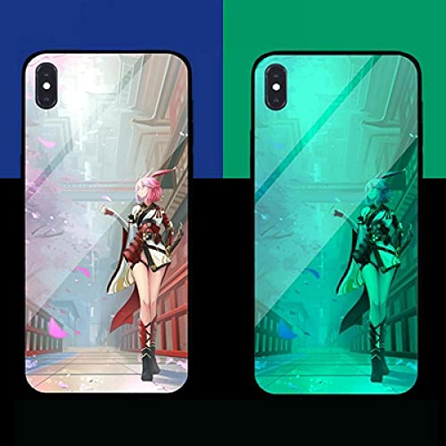 Carcasa de Telefono,Funda Protectora para iPhone Funda para Teléfono 3D Carcasa de Vidrio Templado Borde Suave Brillo Nocturno Anime Elementos de Estilo Chino Serie (Compatible con Iphone12 Mini)