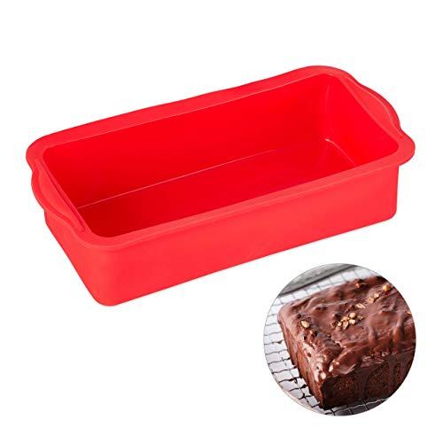 relaxdays Molde de bizcocho Rectangular, Apto para microondas & lavavajillas, Silicona, 28,5 cm, Rojo