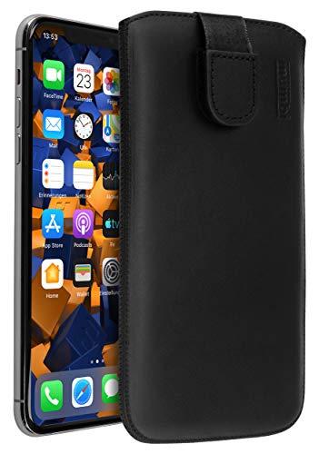 mumbi Funda de cuero real compatible con iPhone 11 Pro Max Estuche Bolso de cuero Estuche Monedero, Negro