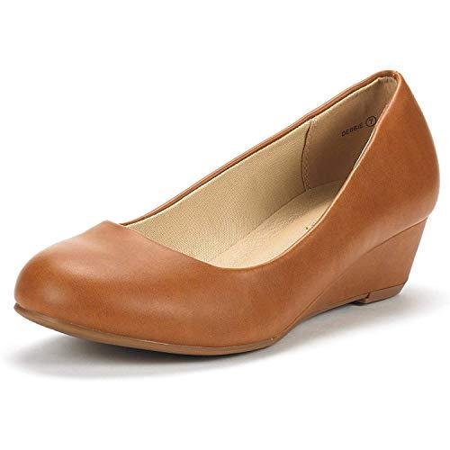 DREAM PAIRS Women's Debbie Tan Pu Mid Wedge Heel Pump Shoes - 5.5 M US