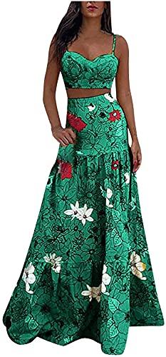 LYDIANZI Mujeres Bohemian Maxi Dress Tops Sin Mangas Tops Floral Graphic Maxi Vestidos Falda Conjuntos Tight Cintura De 2 Piezas Trajes Vestido(Size:Grande,Color:Verde)