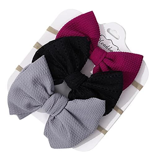 PHILSP Baberos para bebés 3 Piezas/Set Color sólido Banda elástica para el Cabello para bebés Turbante Princesa Bowknot Diadema 4