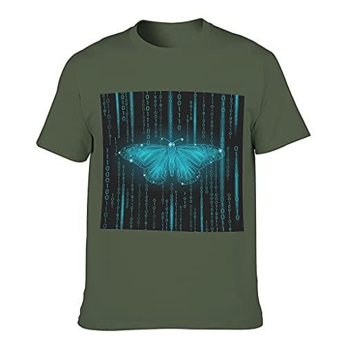 Camiseta de algodón para hombre con diseño de mariposa verde militar XL