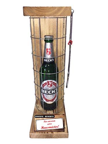 Für unseren guten Hausmeister Die Eiserne Reserve mit Becks Bier 0,50L incl. Säge zum zersägen des Gitter - die Geschenkidee Geschenkset