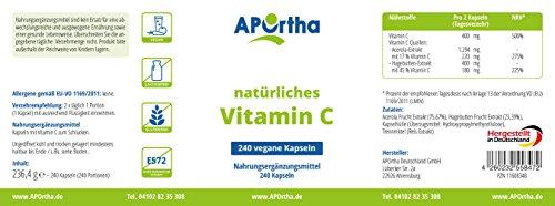 NordHit Vitamin C aus natürlichen Quellen – 240 Kapseln - 2