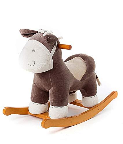 Cheval à bascule XMJ Enfant Jouet, Brun foncé âne en Peluche for Rocking Horse Kid 1-3 Ans, en Bois Peluche/bébé à Bascule Cheval/Tour Animal