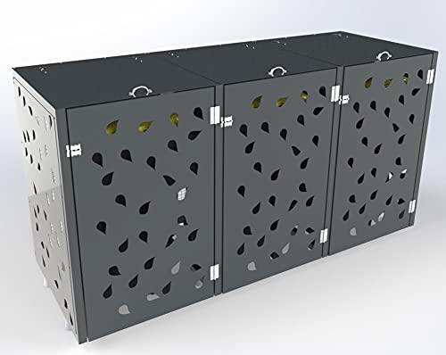 Ihre Mülleimer Werden zur Deko, Mülltonnenbox, Mülltonnenboxen, Mülltonnenbox 3 Tonnen, Mülltonnenbox Metall, Mülltonnenbox 3er 240l - Parent (Grau)