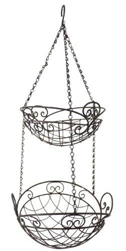 Bern - 2er Hängekorb Pflanzkorb *Hänge-Etagere* 79 cm hoch Metall/Eisen dunkelrostfarben lackiert, Landhaus