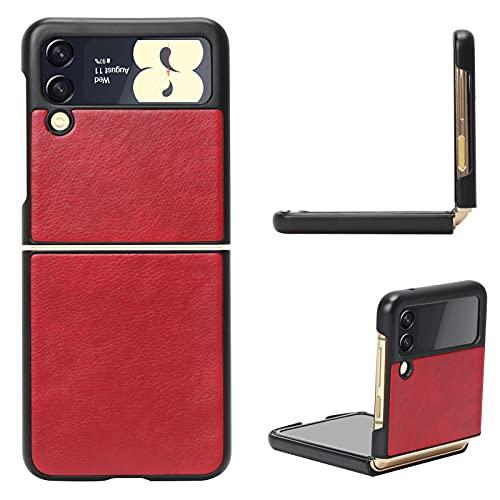 FYY Galaxy Z Flip 3 Hülle 5G,Handyhülle für Samsung Galaxy Z Flip 3 Klapphülle,PU Lederhülle für Samsung Z Flip 3 Tasche 5G 6.7 Zoll-Rot (2021)