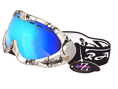 Rayzor Rayzor - Gafas de esquí y snowboard (protección UV400, con marco de camuflaje plateado y revestimiento antivaho, lente de iridio azul con ventilación, antirreflejos, visión amplia y claridad