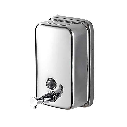 TFTREE Dispenser di Sapone Liquido Manuale in Acciaio Inossidabile, Pompa a Mano per Uso Commerciale a Parete per Dispenser di Sapone per Hotel da Bagno in cucina-Silver-1L