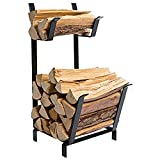 DOEWORKS 27 Inches Two Tier Practical Indoor/Outdoor Firewood Log Rack Bin, Black