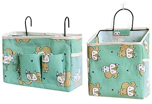 EACHPT Sängväska med hängväska, 2 st. förvaringsväska, vägg-sovsal sängbord hängkorg, kanvas förvaringsväska, används för böcker, mobiltelefoner
