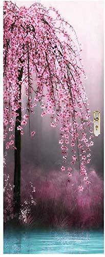 HHJJ Moderne Peel & Stick Vinyl 3D-Türaufkleber Plum Blossom Baum Tapete Tapete Wasserdicht-Kunst-Abziehbilder