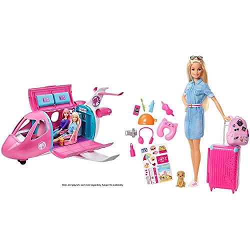 Barbie Avión de Tus sueños, avión de Juguete con Accesorios para muñecas (Mattel GDG76) + Vamos de Viaje, muñeca con Accesorios, Edad Recomendada: 3 años y mas (Mattel FWV25)