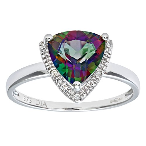 Naava Women's 9 ct White Gold Triangular Cut Green Mystic Topaz and Diamond Ring, Size J