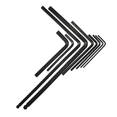 Vencetmat 9Pcs Guitar Allen Wrench Set,1.5mm, 2mm, 2.5mm, 3mm, 4mm, 5mm, 1/20in, 1/8in, 3/16in, Fit for Most Acoustic & Electric Guitar & Bass Neck, Truss Rod, Knobs, Bridge, Nut Locking Adjustment