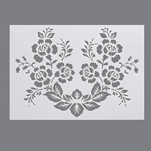 efco–Wild Rose Design Stencil in 1, plastica, Trasparente, Formato A4