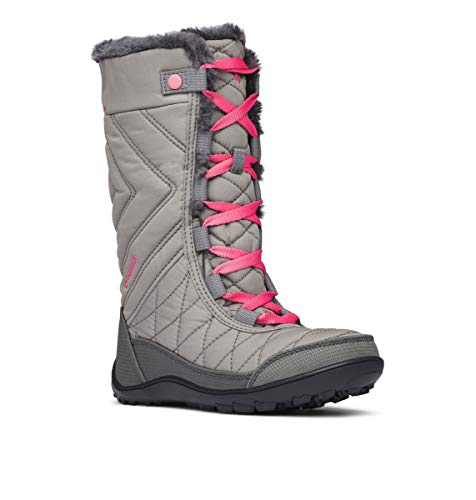 Columbia Girls' Youth Minx MID III Waterproof Omni-Heat Snow Boot, Stratus, Camellia Rose, 1 Regular US Little Kid
