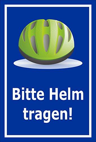 Melis Folienwerkstatt sticker schild - Gelieve helm te dragen - S00050-090-F 30x20cm – selbstklebender Aufkleber