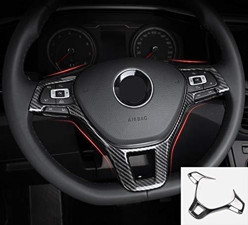 MAXDOOL Carbon Fiber Steering Wheel Cover Sequins Frame Trim for Volkswagen VW Jetta Passat e-Golf Golf Sportwagen Alltrack Arteon Atlas Tiguan Interior Accessories