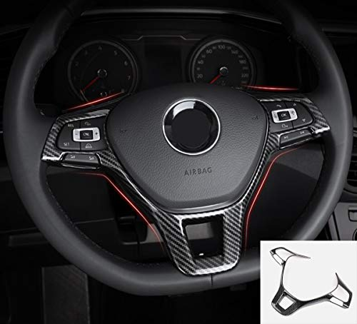 MAXDOOL Carbon Fiber Steering Wheel Cover Sequins Frame Trim for Volkswagen VW Jetta Passat e-Golf Golf Sportwagen Alltrack Arteon Atlas Tiguan Interior Accessories