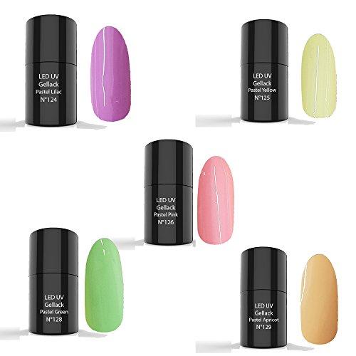 LED-UV Vernis à ongles - Polish Gel, 5x6ml- Pastel Colour Set 5