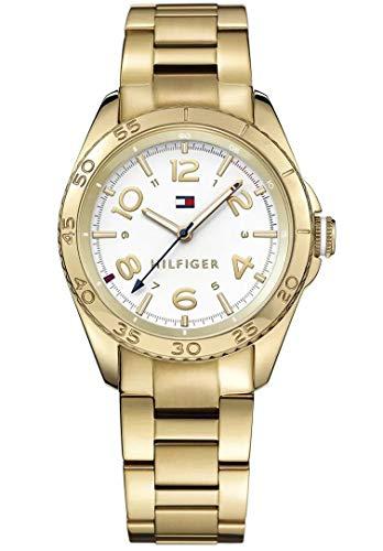 Reloj analógico para mujer Tommy Hilfiger 1781638, mecanismo de cuarzo, diseño clásico, correa chapada en oro.