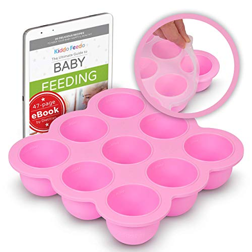 KIDDO FEEDO Multiportion Baby Freezer Storage - FDA Approved Silicone Freezer Tray Container with Clip-on Lid - BPA Free - 9x2.5oz portions - Free E-Book by Author/Dietitian - Pink