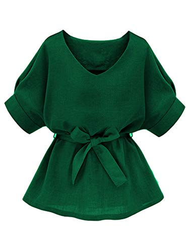 Milumia Women's Casual V Neckline Self Tie Short Sleeve Work Blouse Tunic Tops Green XX-Large