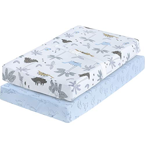 My Little Zone Changing Pad Cover Dinosaur  Changing Table Mattress Pad Blue and White 2 Pack