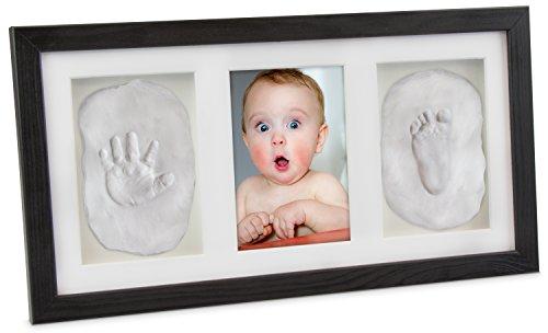 LAUBLUST - Baby Bilderrahmen für Handabdruck und Fußabdruck - Kiefer Schwarz 43 x 23 x 3 cm - Baby Abdruck Set zur Geburt