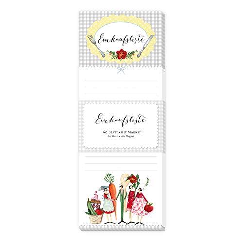 Einkaufsliste Block I Notizblock I Notizzettel gebunden, 60 Blatt, liniert, magnetisch für Kühlschrank mit Motiv, Figuren, Besteck, Gemüse, retro, vintage, klein, hochkant, bunt