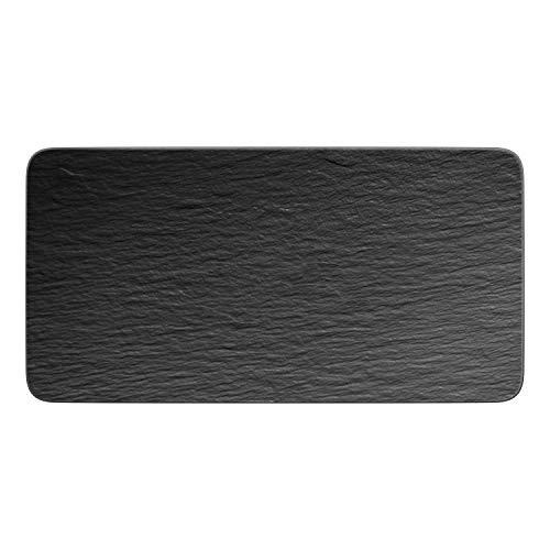 Villeroy & Boch - Manufacture Rock Servierplatte rechteckig, formschöne Präsentationsplatte aus Premium Porzellan, spülmaschinenfest, schwarz