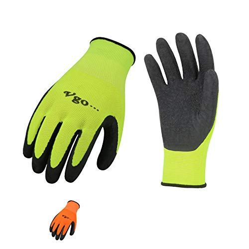 Vgo 6-Pairs Latex Rubber Coated Gardening and Work Gloves (Size XL, High-Vis Green & Orange, RB6023)